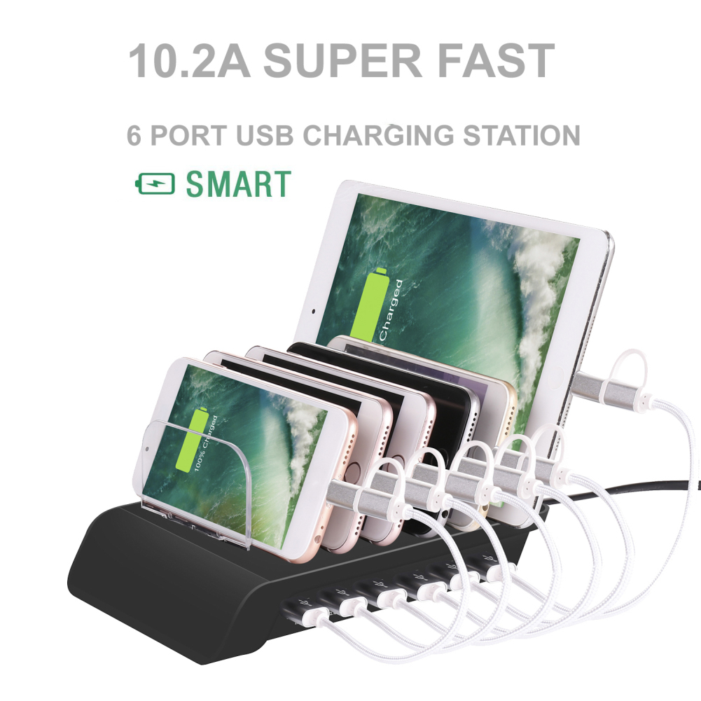 6 USB port multi device charging station with Quick Charge support