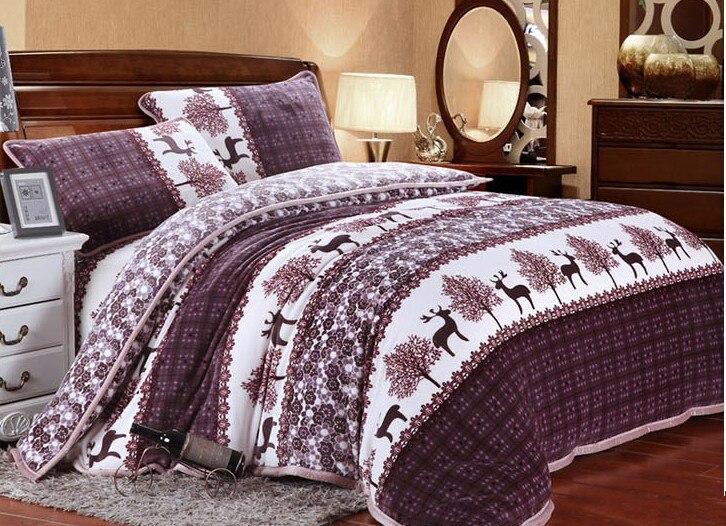 buy winter warm and nordic style bedding set moose design mink cashmere. Black Bedroom Furniture Sets. Home Design Ideas