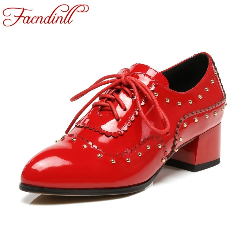 FACNDINLL classic spring autumn shoes women pumps brand shoes genuine leather pumps thick high heels fashion women casual shoes women s genuine leather patchwork lace up pumps brand designer thick high heel spring autumn high quality punk shoes for women