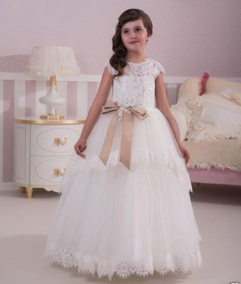 White/Ivory Beads Appliqued Baby   Girls   Birthday Party Christmas   Dresses   Children   Girl   Party   Dresses   For Wedding Gown