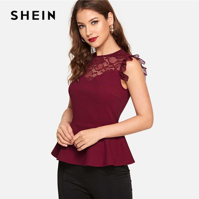 b83d16daee SHEIN Burgundy Lace Yoke Solid Peplum Top Elegant Plain Round Neck  Sleeveless Slim Fit Blouse Women