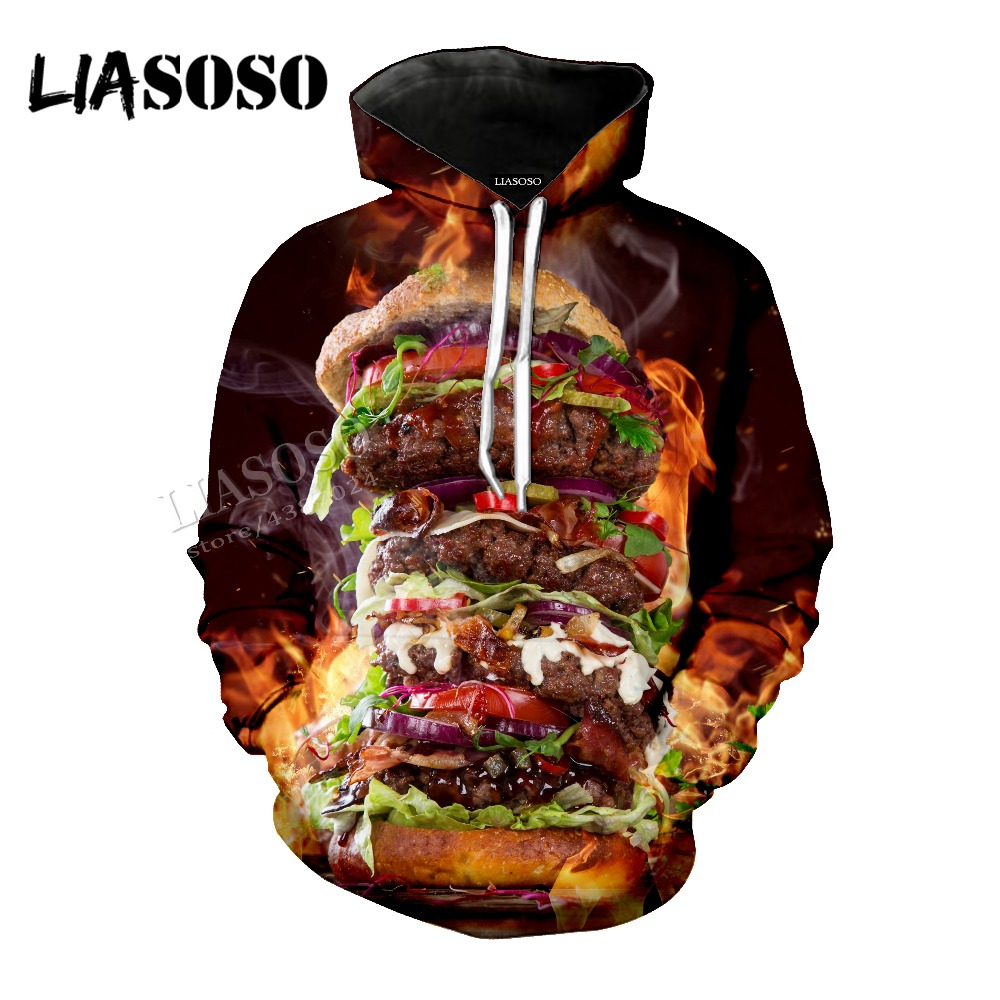 LIASOSO New Neutral High Quality Top Burger 3D Print Delicious Burger Wind Short sleeve / Hat coat / Pullover / Zip Hoodie CX022