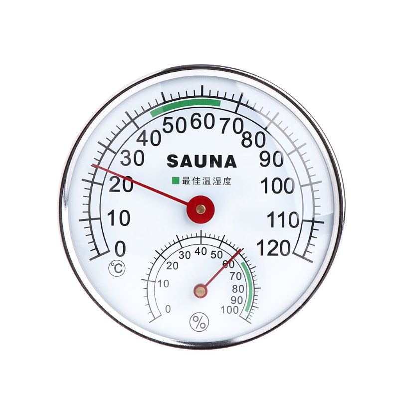 De acero inoxidable termómetro higrómetro para habitación de Sauna de temperatura humedad medidor