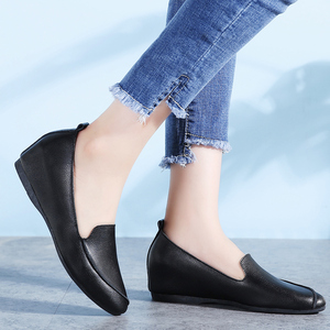 Image 3 - STQ 2020 Autumn Women Ballerina Flats Shoes Women Genuine Leather Shoes Slip On Loafers Women High Increase Heel Shoes 1188