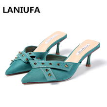 Sexy women Casual Slippers shoes women Suede Shallow Slip On Pointed Toe Butterfly-knot Bow high heels Slippers shoes mujer #551 women s pointed shallow mouth set foot flow threo bow tie knot casual single layer shoes