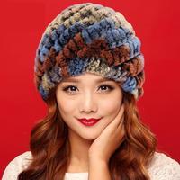 2015 winter Warm Bont Mode Hoed Mao Maozi Rex Konijn Haar Hoed Vrouwelijke Koreaanse Ananas Oor Cap Volwassen Vrouwen Nieuwigheid Patchwork