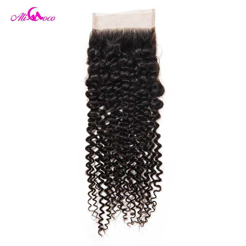 Ali Coco Brazilian Kinky Curly Closure 4x4 Human Hair Lace Closure Free Part 100 Remy Hair