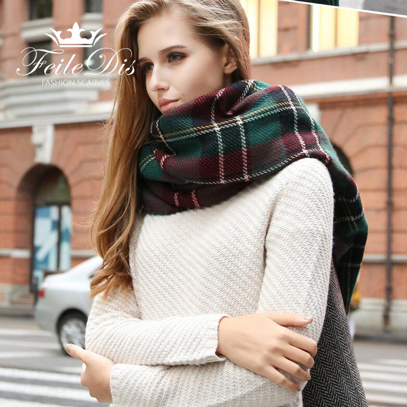 [FEILEDIS]Autumn and winter popular plaid ladies   scarf   oversized thick shawl double-sided use autumn winter   scarf   FD081
