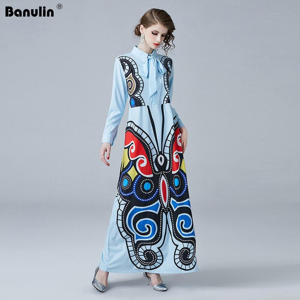 ad693452ff279b Designer Hohe Hemd Qualität Kleid Frauen 2019 Frühjahr Floral Lange Drucken  Banulin Neue Runway X5405 Kleider Vintage ...