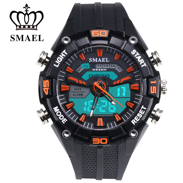 Fantastic Outdoor Dual Display 50m Waterproof Teenage Watch LED Swimming Waterproof Leisure Electronic Watch SMAEL New 1352