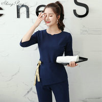 Medical Uniforms Nurse Clothes Set Uniform Women Aviation Uniform Lab Beauty Salon SPA Workwear Fashion Clothing V1339