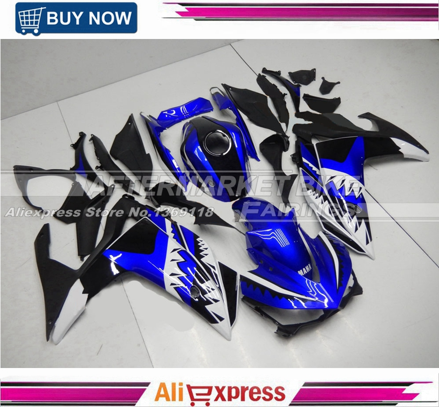 Blue-Shark Decals Complete YZF R3 Bodyworks For Yamaha YZF R25 Injection Fairings 2015 2016 2014 2015 2016 yzf r3 r25 abs injection fairing kit for yamaha yzfr3 yzfr25 pearl white complete fairings body kit cowling