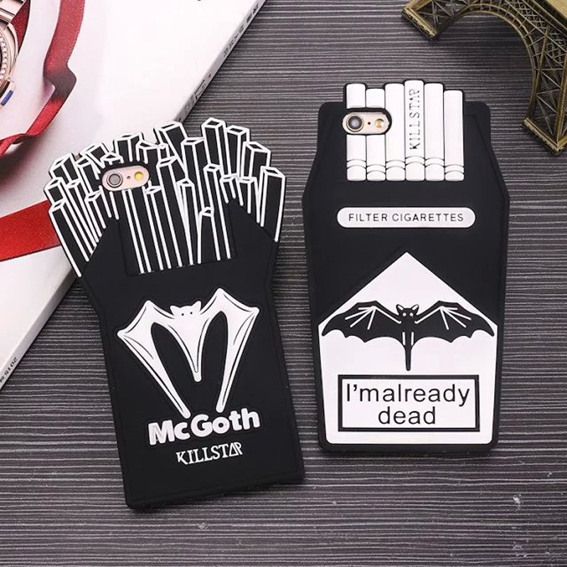 3D Cartoon French Fries <font><b>Cigarette</b></font> Soft Silicone <font><b>Phone</b></font> Back <font><b>Case</b></font> Cover Skin For Apple iPhone 5 5S 5C SE 6 6 Plus 6S Plus 7 8 Plus