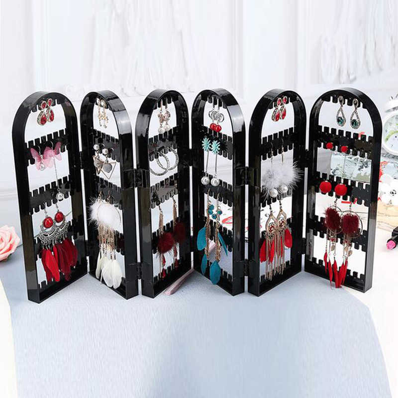 Jewelry Organizer Plastics Earring Storage Doors Design Nice Jewelry Hanging Holder Rack Acrylics Jewelry Display Stand Earrings