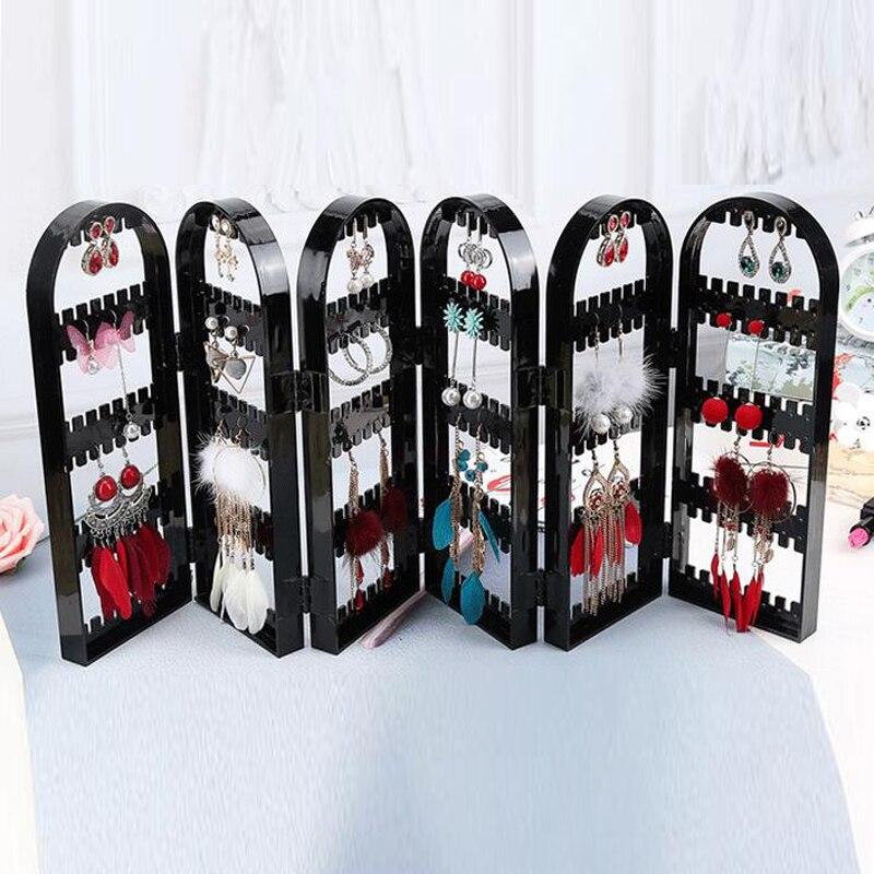 Organizador de joyería pendientes de plástico diseño de puertas de almacenamiento joyería agradable soporte colgante Rack acrílico joyería exhibidor pendientes