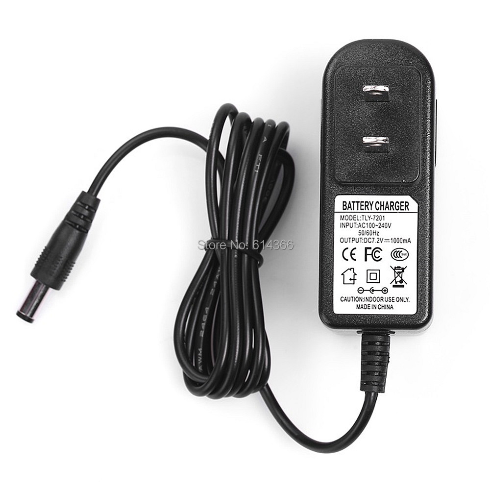 NEW 100PCS EU/US plug100-240VAC 7.2V 1APower adapter 7.2 V1000mA adapter DC head is 5.5 * 2.1mm