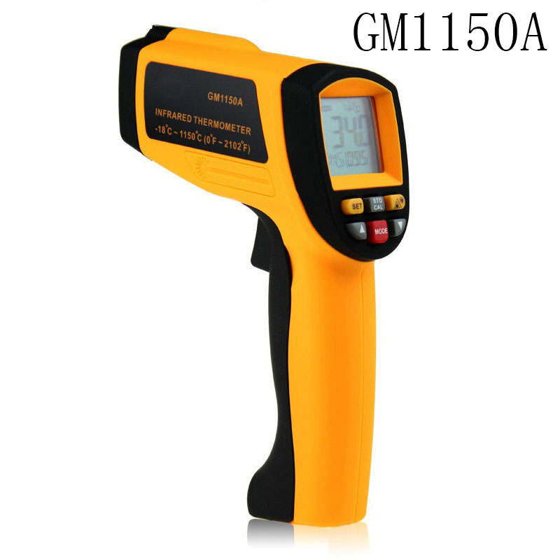 Wholesale 1pcs Professional on-Contact Laser Thermometer Pyrometer Laser Point Temperature GM1150A -18~1150 degree Dropshipping benetech lcd digital infrared thermometer pyrometer laser point temperature gm300 meter free shipping