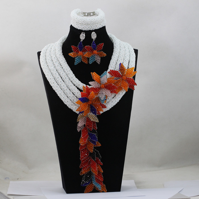 Luxury 4 Layers White Bead African Jewelry Set Orange Multicolor Flower Jewelry Sets for Women Bridal Free Shipping WD586