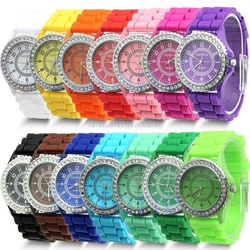 14 Colors Fashion Silicone GENEVA Watch Hot Selling Women Dress Watch Women Rhinestone Watches