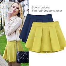 2017 New Summer Fashion Lady Young Women's Divided Skirts Solid Color Pleated Chiffon Wild Short Skirts