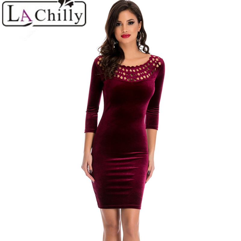 La Chilly Office Sheath Sleeved Velvet Dress autumn winter