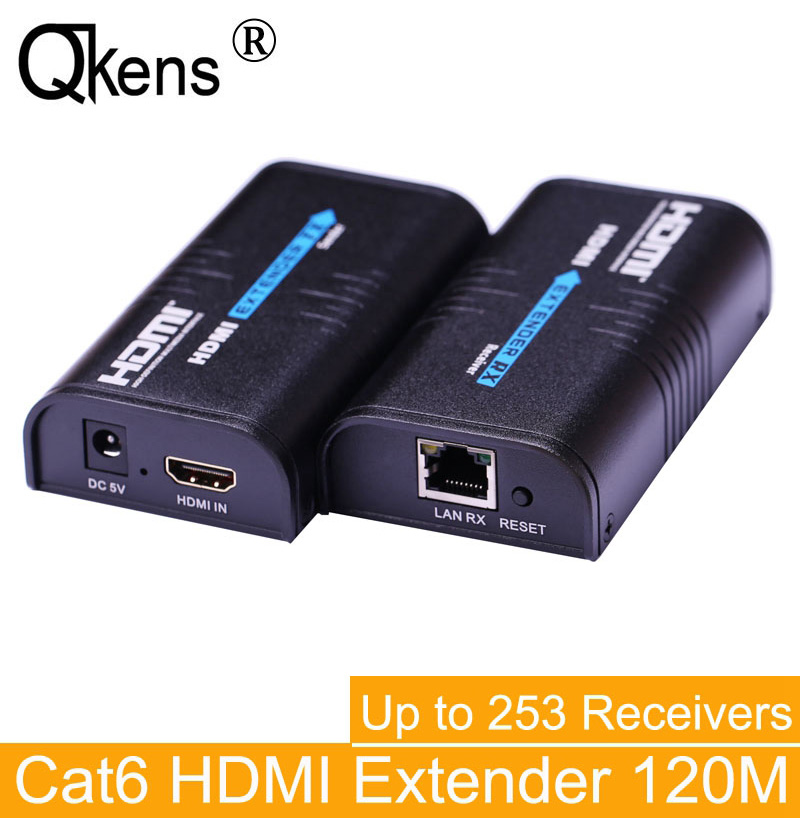 HDMI Extender 120 M par réseau Ethernet tcp/ip Rj45 Cat5 Cat5e Cat6 câble cordon HDMI émetteur récepteur pour DVD PS3 HD TV