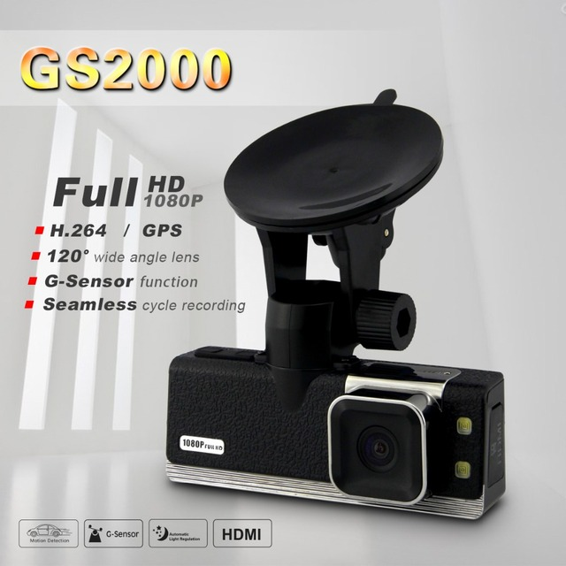 "Ambarella Car DVR Full HD 1080P 30FPS GS2000 1.5""LCD Car Camera Recorder with GPS logger G-sensor H.264 4 IR light"