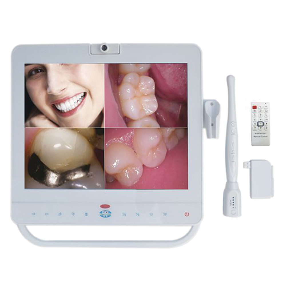 15 Inch Monitor With Dental Wireless Intraoral Camera Unit+Holder+MP4 Function dental endodontic root canal endo motor wireless reciprocating 16 1 reduction