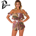 DayLook Summer Romper Print Romper Off The Shoulder Women Playsuit Bohemia Backless Sexy Beach Jumpsuit Bow Knot Plus Size S-XL