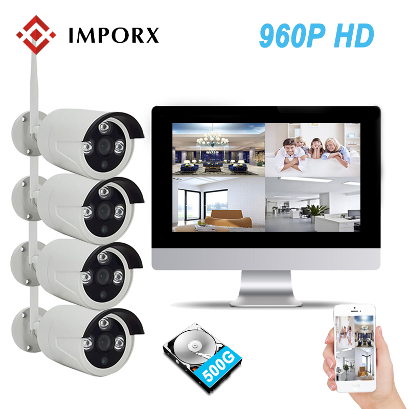 960P 4CH 10.1 LCD Monitor Screen Wireless NVR Kit Wifi CCTV System 1.3MP IP Camera Outdoor P2P Video Security Surveillance Kit