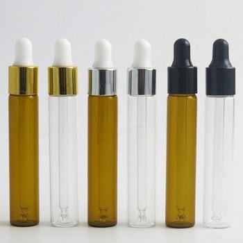 цена 50 x 10ml Empty Clear Amber Refillable Glass Essential Oil Dropper Vial 1/3oz Brown Transparent rubber pipette dropper bottles онлайн в 2017 году