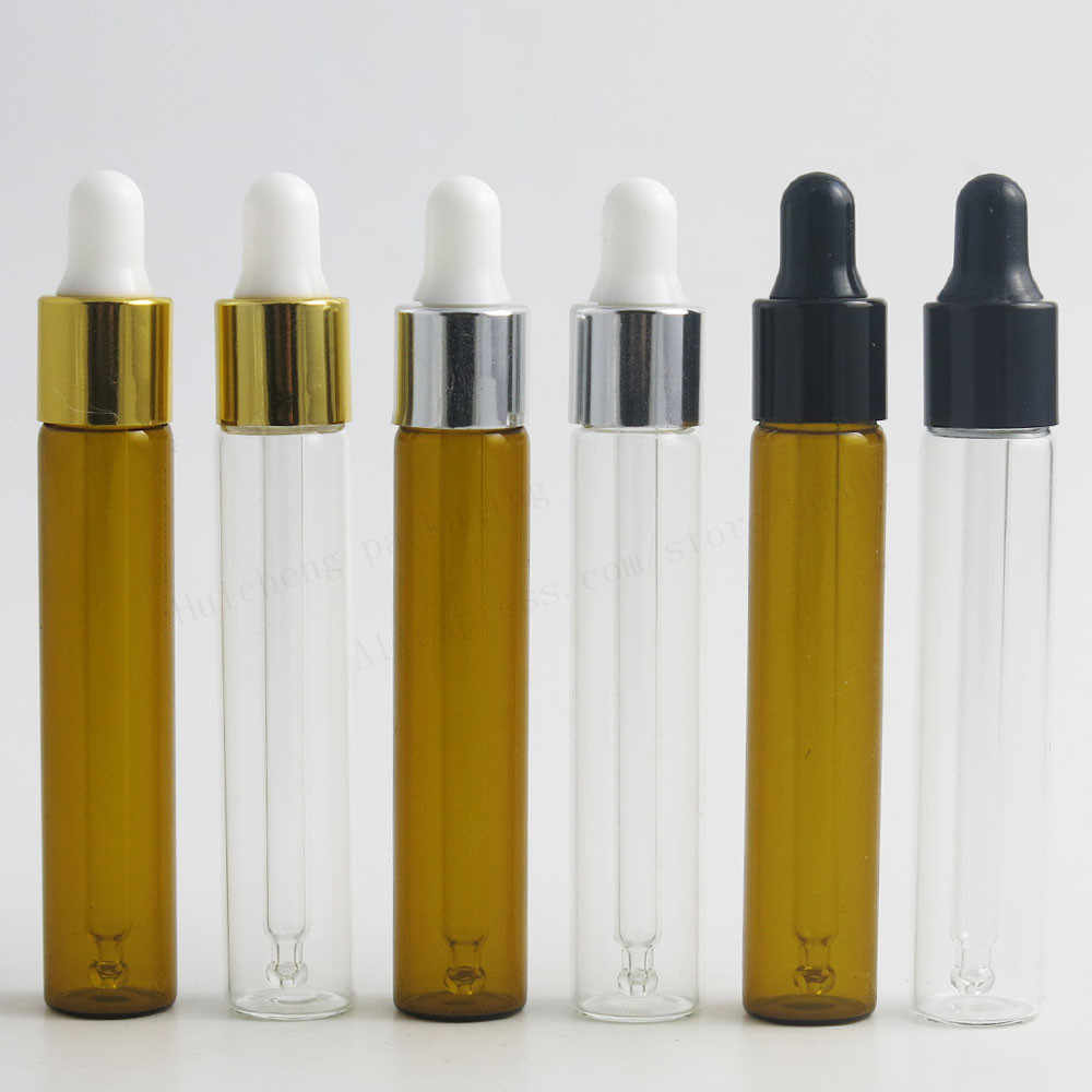 871da2f550b3 50 x 10ml Empty Clear Amber Refillable Glass Essential Oil Dropper ...