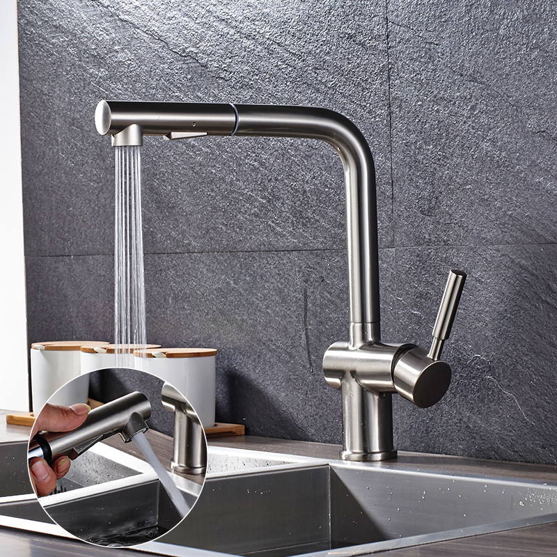 Quyanre Brushed Nickel Pull Out Kitchen Faucet 360 Rotation H/C Mixer Tap Pull Out Spray Kitchen Basin Faucet Torneira Cozinha