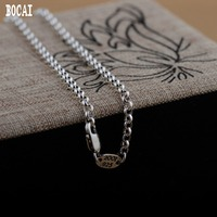 Real S925 silver necklace antique craft ring collar simple and stylish beautiful solid silver necklace