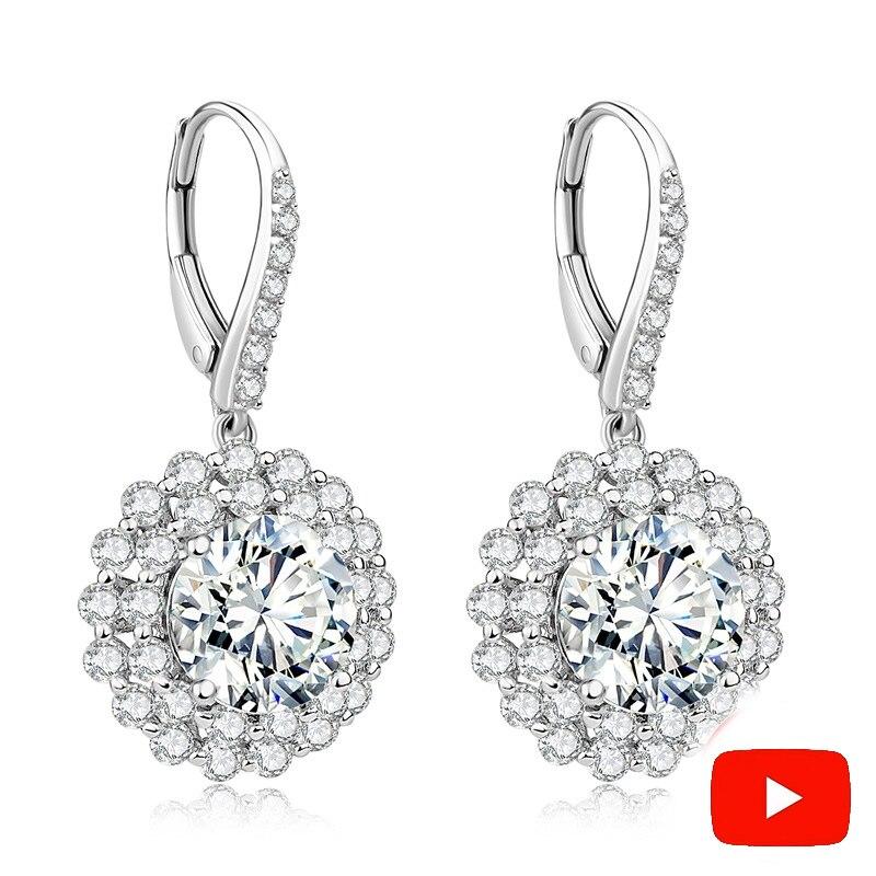 Sona D colour Fine Jewelry Earrings S925 Sterling silver diamond Good Taste Earrings boutique custom jewelry-in Earrings from Jewelry & Accessories    1