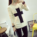 Autumn Winter Sweater Women Fashion Thickening Pullovers Female Black White Cross Knitted Sweater O-neck Loose Plus Size Tops
