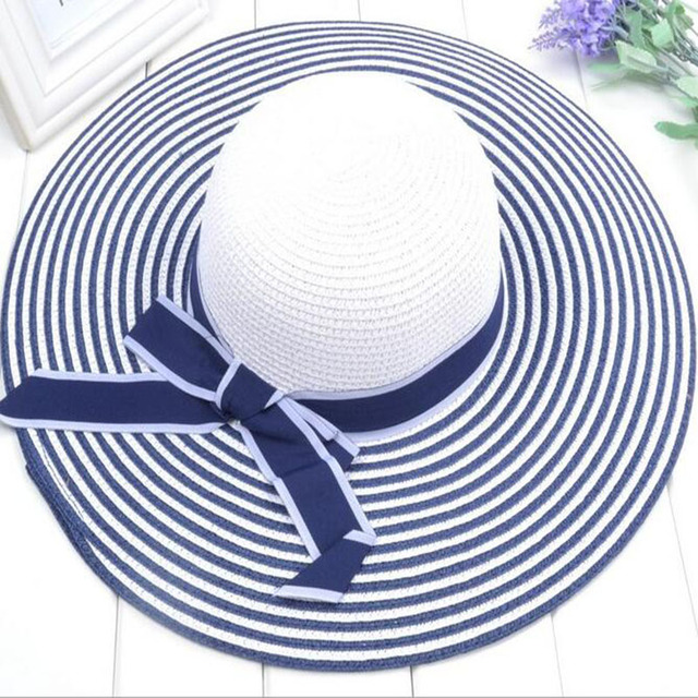 10a6c0b04 US $6.66 26% OFF|Hot Sale Fashion Hepburn Wind Black White Striped Bowknot  Summer Sun Hat Beautiful Women Straw Beach Hat Large Brimmed Hat-in Women's  ...