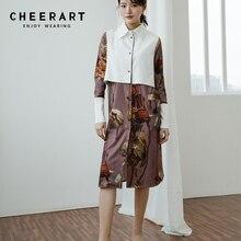 Cheerart, цветочное винтажное платье, женское лоскутное платье-рубашка, длинный рукав, длина до колена, женское платье, женская одежда, весна