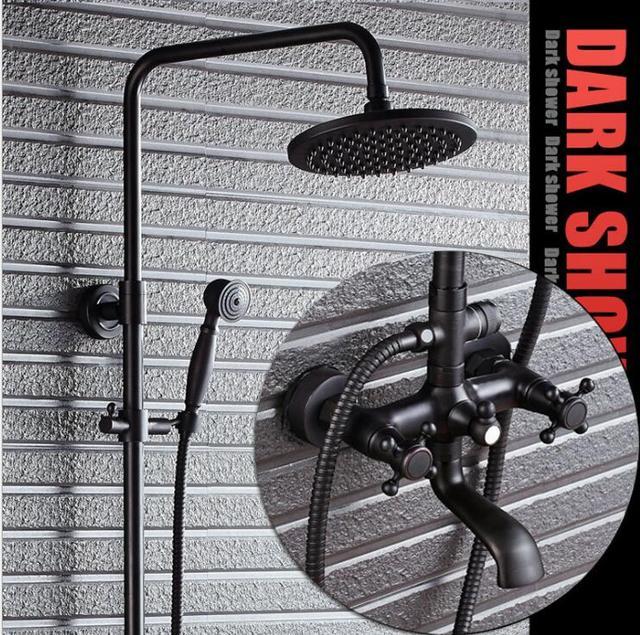 Luxury Black Oil Brushed Bathroom Brass Rain Shower Set, Shower ...