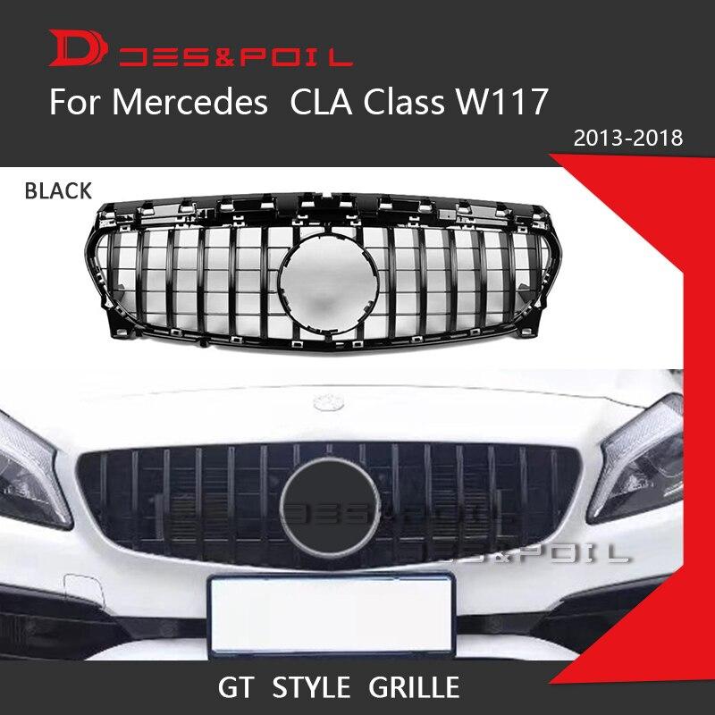 Grille GT Style Vertical pour Mercedes CLA classe W117 lifting pare-chocs avant gril de course 2016-2018 CLA200 CLA250 CLA180 gril de voiture