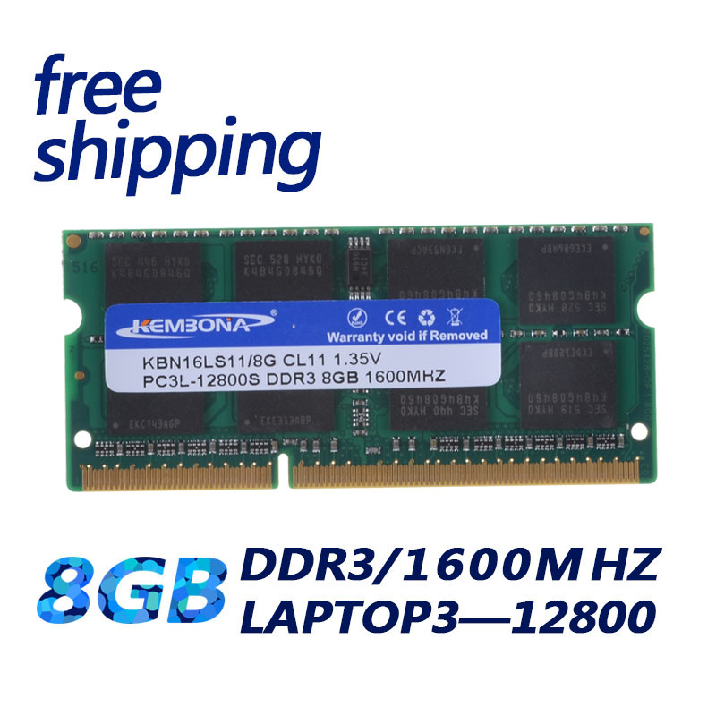 KEMBONA 1600Mzh DDR3L DDR3 8 GB PC3L-12800S 1.35 V Si-DIMM 204 Broches Module de Mémoire Ram Memoria pour Ordinateur Portable ordinateur Garantie À Vie