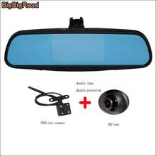 BigBigRoad For honda ciimo front mirror DVR + rear view camera driving video recorder parking monitor + Original Bracket