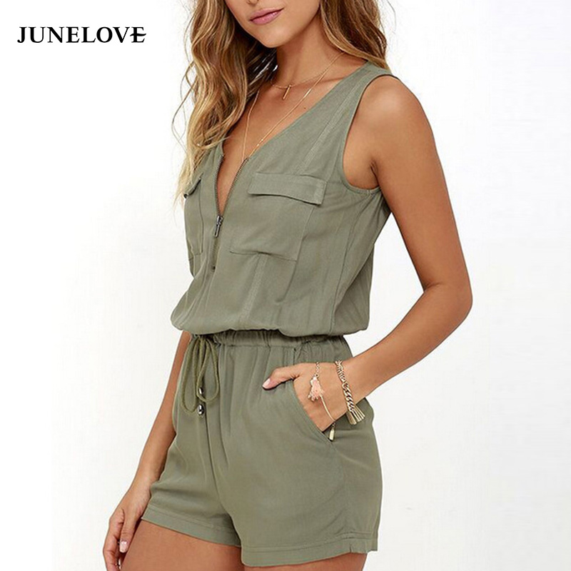 JuneLove 2018 summer zipper sexy women jumpsuit pockets lace up female rompers beach bodysuit for girl