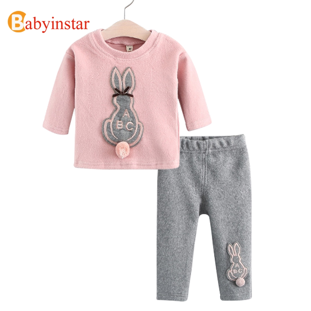 Babyinstar Cute Rabbit Cartoon t-shirt + Pants Casual Two-Piece Sets Plus Velvet Autumn Kids Suit for Baby Girl Clothing Sets 2017 autumn girl doll shirt the fashionable two piece set of pure color lotus leaf coat with harness sets tide