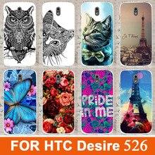Hot diy bela flor rosa animais coloridos torre projeto pintado casos capa dura preta para HTC Desire 526 526 G escudo do telefone