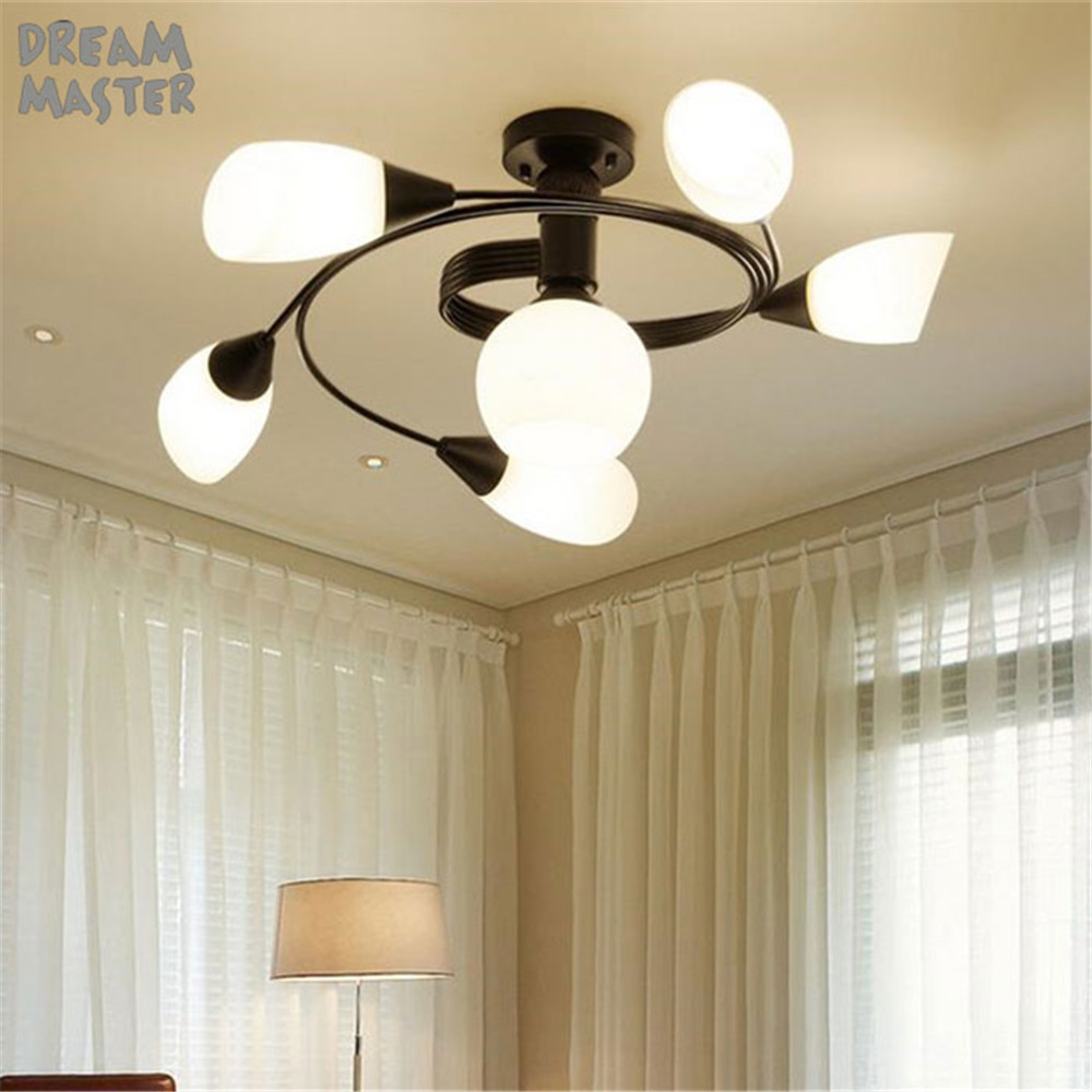 2017 New Milky glass shade Ceiling chandelier Spiral Slide lusters lamp Surface Mounted Wrought Iron ceiling lighting art deco spiral tie dye cloth art