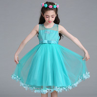 Berngi Flower Girls Dress Kids Rose Petals Flower Embroidery Party Wedding Costumes Children Summer 7 Colors