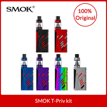 Original SMOK T-priv 220 W Kit com V8 Q2 5 ml + V8 Grande Tanque Do Bebê Do Bebê/ t8 Bobinas + Tubo De Vidro Para vape cigarro Eletrônico T priv