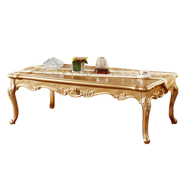 French Champagne Gold Tea Table Wood Coffee New Continental Long Small Apartment Living Room Furniture