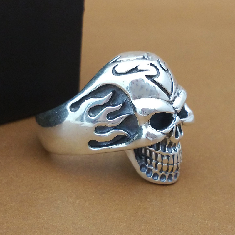 S925 pure silver ornaments hand Thai silver ring flame skull ring male money personality цена